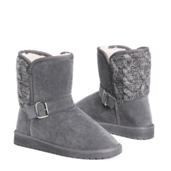 Muk Luk Grey Jada Faux Fur Boots